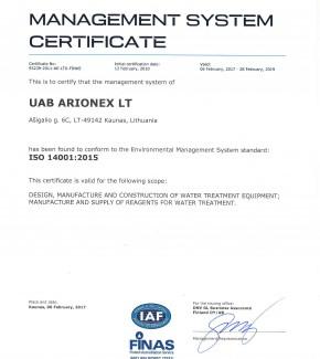 Arionex-ISO-14001-2015-2017-EN